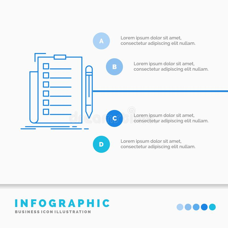 πείρα, πίνακας ελέγχου, έλεγχος, κατάλογος, έγγραφο πρότυπο Infographics για τον ιστοχώρο και παρουσίαση Infographic ύφος εικονιδ διανυσματική απεικόνιση