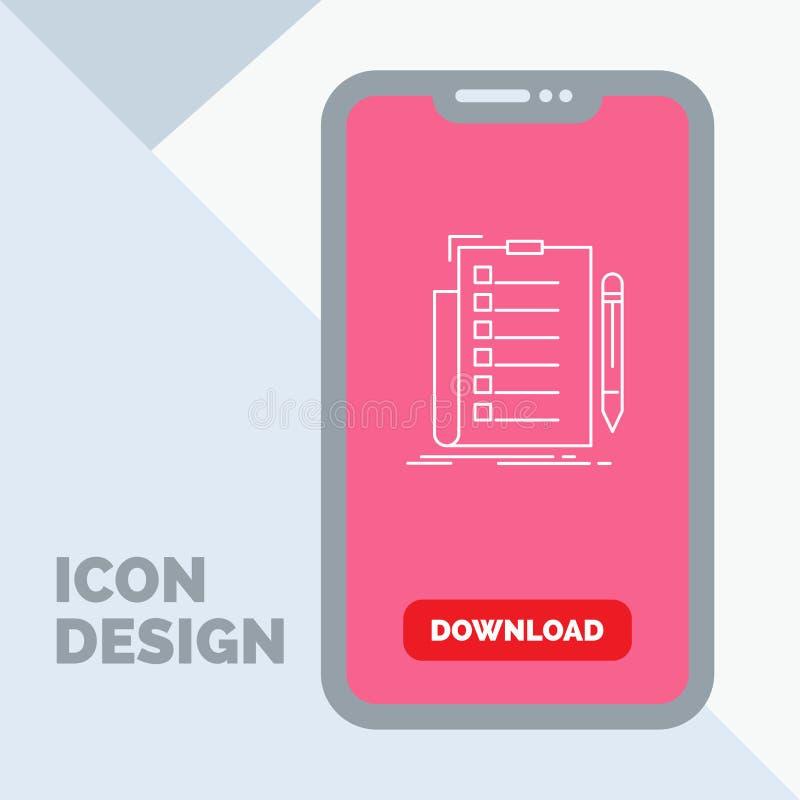 πείρα, πίνακας ελέγχου, έλεγχος, κατάλογος, εικονίδιο γραμμών εγγράφων σε κινητό για Download τη σελίδα διανυσματική απεικόνιση