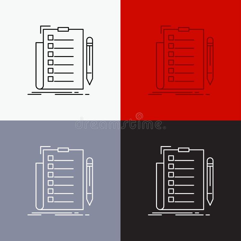 πείρα, πίνακας ελέγχου, έλεγχος, κατάλογος, εικονίδιο εγγράφων πέρα από το διάφορο υπόβαθρο Σχέδιο ύφους γραμμών, που σχεδιάζεται ελεύθερη απεικόνιση δικαιώματος