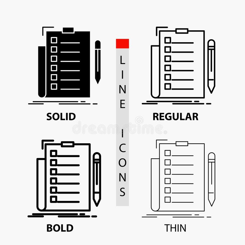 πείρα, πίνακας ελέγχου, έλεγχος, κατάλογος, εικονίδιο εγγράφων στη λεπτά, κανονικά, τολμηρά γραμμή και το ύφος Glyph r ελεύθερη απεικόνιση δικαιώματος