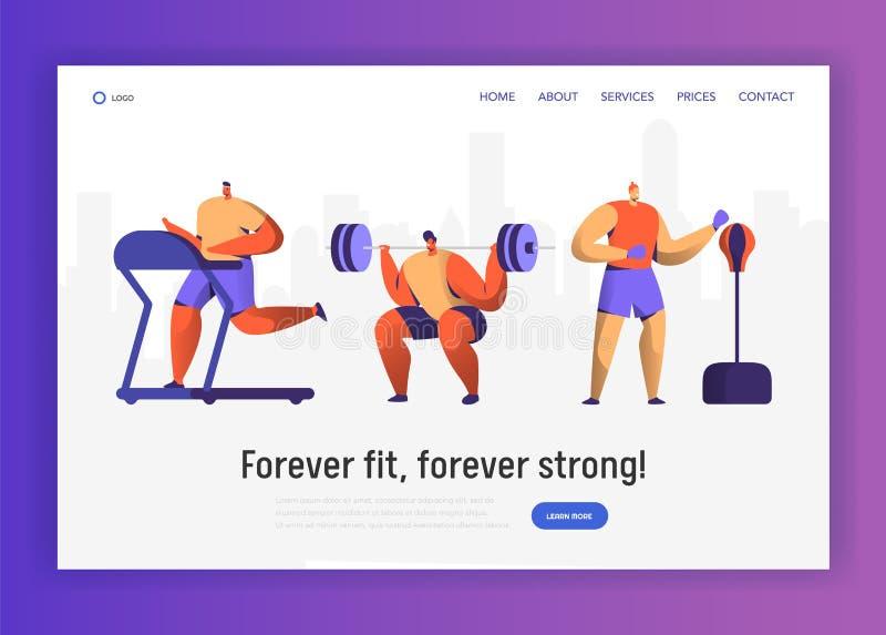 Πεδίο εκπαιδευτικός χαρακτήρας γυμναστικής - που τίθεται για το σχέδιο ιστοχώρου Συλλογή αριθμού ατόμων αθλητικού καρδιο Workout  απεικόνιση αποθεμάτων