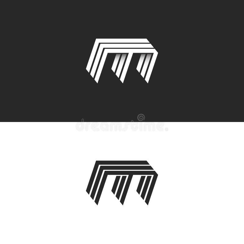 Πεζή επιστολή λογότυπων Μ, τρισδιάστατη σύγχρονη μονογραμμάτων ταυτότητας μορφή κατασκευής γραμμών εμβλημάτων isometric απεικόνιση αποθεμάτων