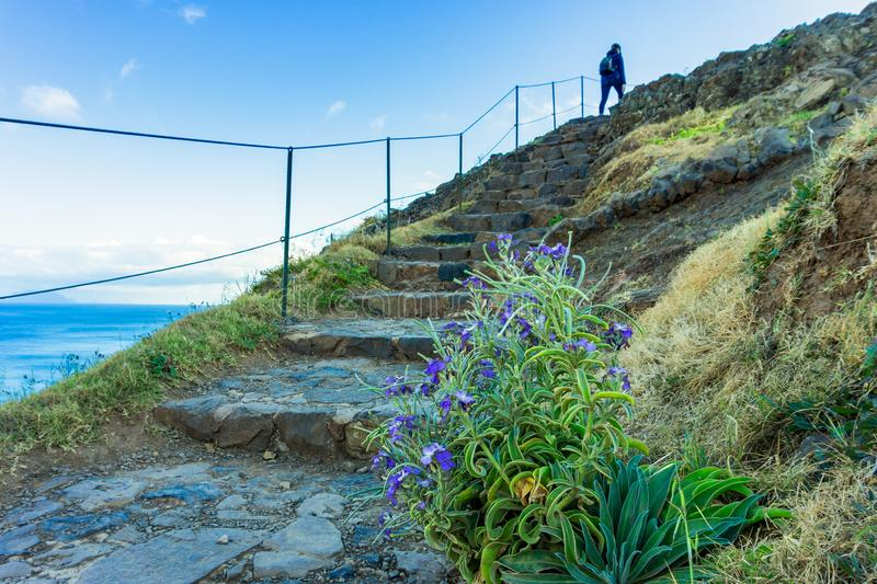 Πεζοπορία και θαυμάσιος περίπατος στην ηφαιστειακή χερσόνησο Lourenco Σάο, νησί της Μαδέρας στοκ εικόνα με δικαίωμα ελεύθερης χρήσης