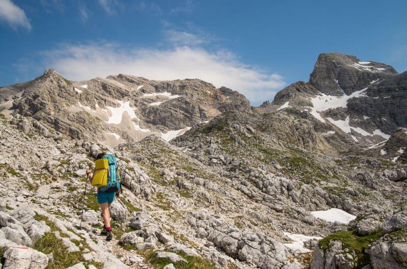 Πεζοπορία κοριτσιών υψηλή στα βουνά στοκ εικόνες