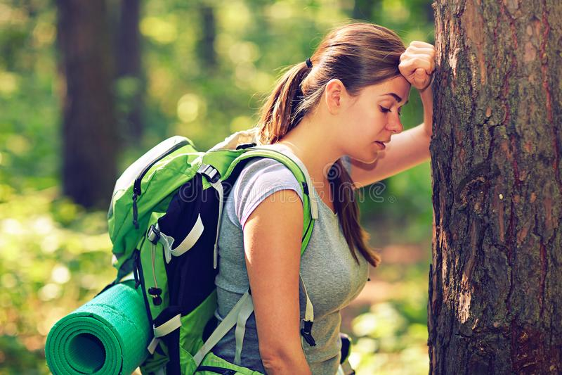 Πεζοπορία τουρίστας γυναικών που στηρίζεται κοντά στο δέντρο στοκ φωτογραφία