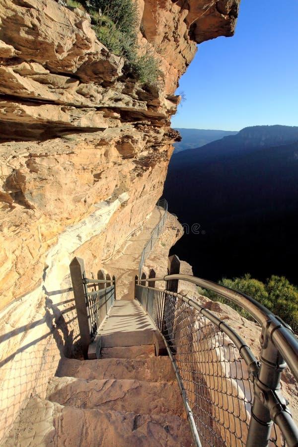 Πεζοπορία των εθνικών μπλε βουνών ιχνών περασμάτων στοκ εικόνες