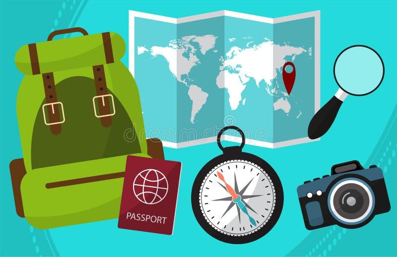 Πεζοπορώ και ταξίδι από τον κόσμο με τις εγκαταστάσεις διαβατηρίων, σακίδιο πλάτης, μια ενίσχυση - γυαλί, κάμερα, χάρτες απεικόνιση αποθεμάτων