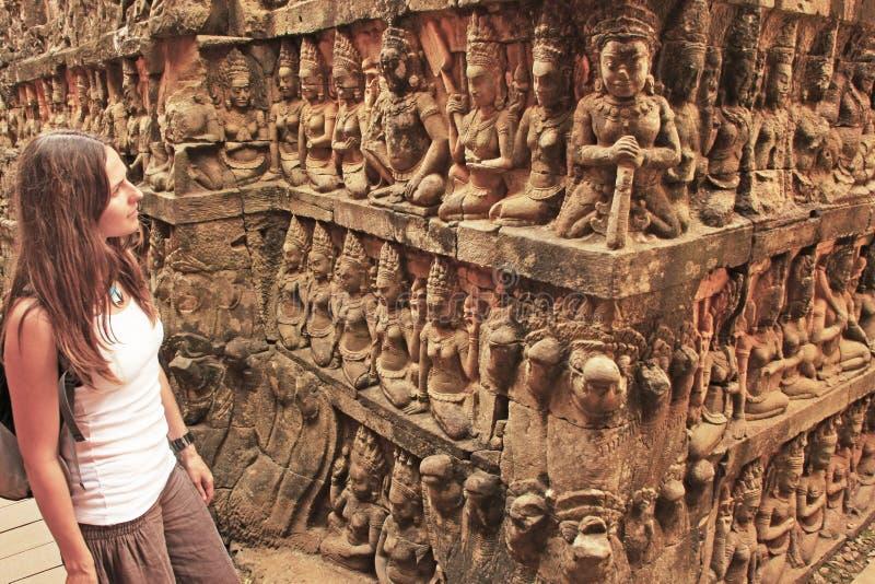Πεζούλι του βασιλιά λεπρών, Angkor Thom στοκ εικόνες