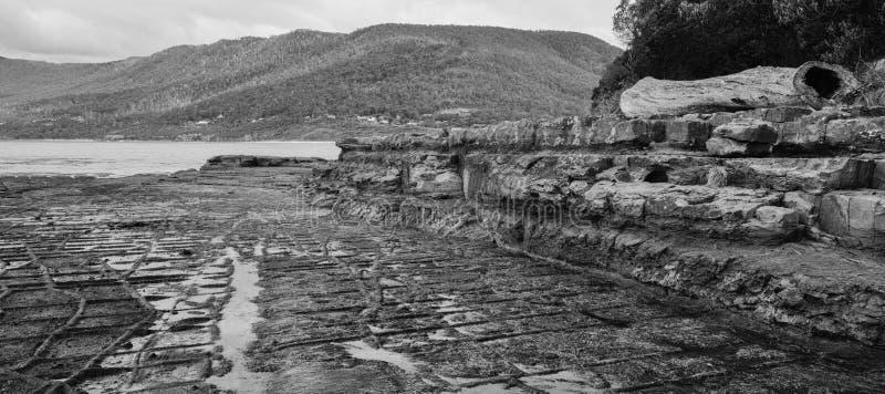 Πεζοδρόμιο Tessellated στον κόλπο πειρατών μαύρο λευκό στοκ εικόνες με δικαίωμα ελεύθερης χρήσης