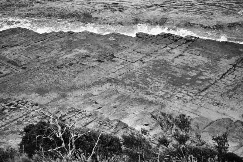 Πεζοδρόμιο Tessellated στον κόλπο πειρατών μαύρο λευκό στοκ φωτογραφία