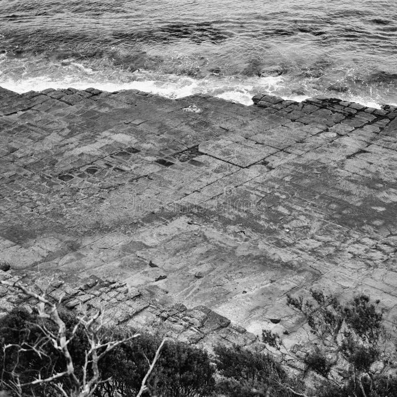 Πεζοδρόμιο Tessellated στον κόλπο πειρατών μαύρο λευκό στοκ εικόνα