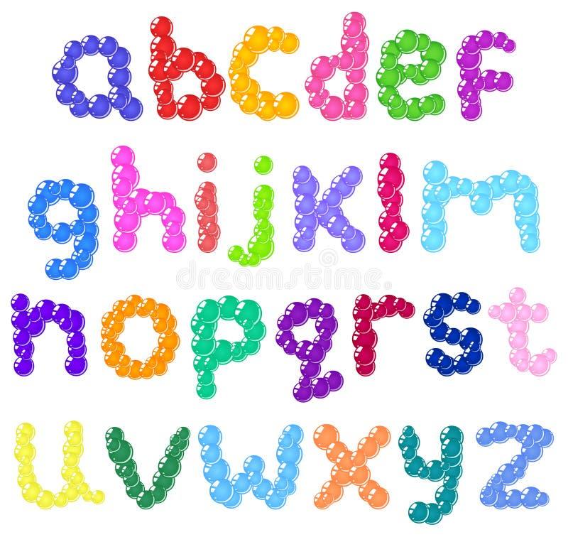 Πεζό αλφάβητο φυσαλίδων διανυσματική απεικόνιση