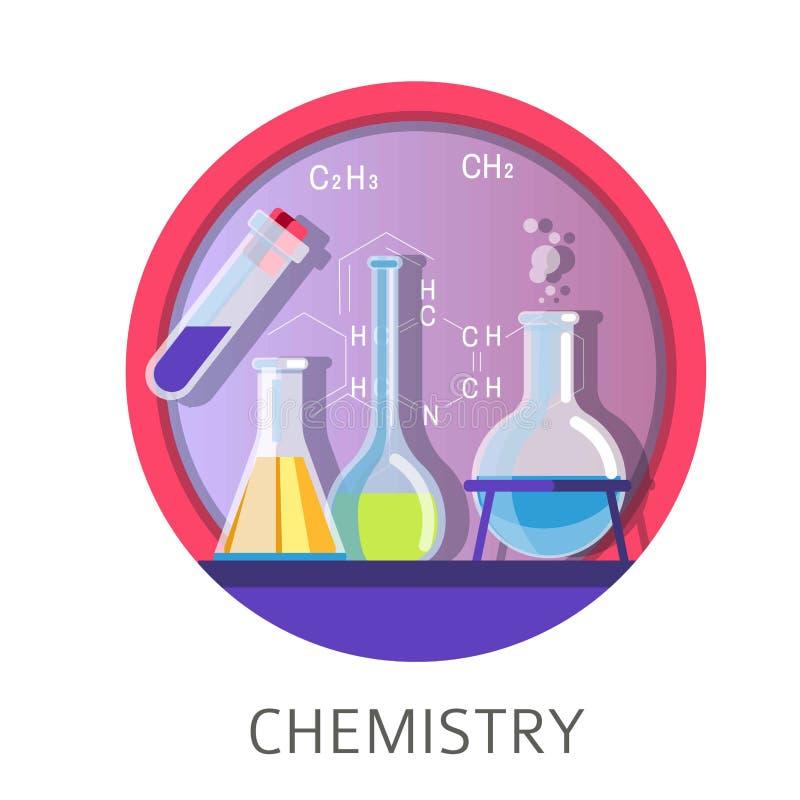 Πειθαρχία και μαθήματα χημείας στο σχολικό Πανεπιστημιακό κολέγιο διανυσματική απεικόνιση