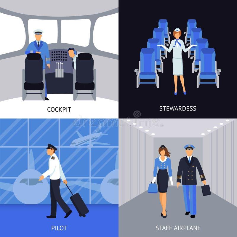 Πειραματικός και αεροσυνοδός 4 επίπεδα εικονίδια ελεύθερη απεικόνιση δικαιώματος