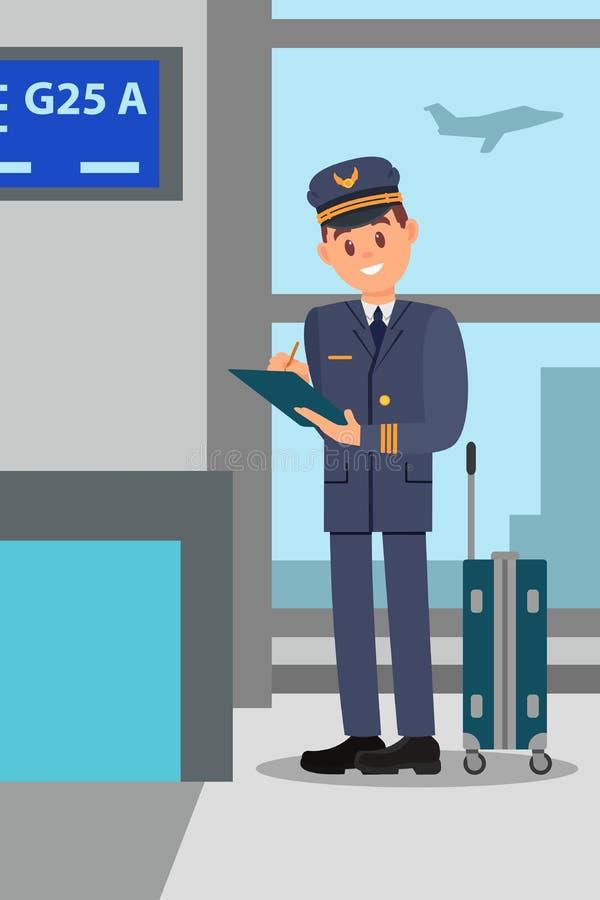 Πειραματικός με τη βαλίτσα που στέκεται στο τερματικό αερολιμένων Καπετάνιος κινούμενων σχεδίων που κάνει τις σημειώσεις στο φάκε διανυσματική απεικόνιση