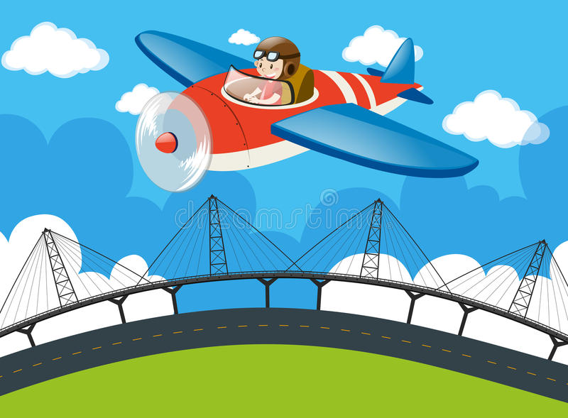 Πειραματικό πετώντας αεροπλάνο πέρα από τη γέφυρα απεικόνιση αποθεμάτων