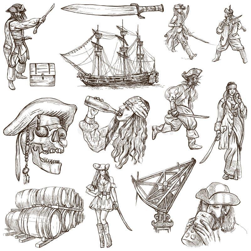 Πειρατές - μια συρμένη χέρι συλλογή ελεύθερη απεικόνιση δικαιώματος