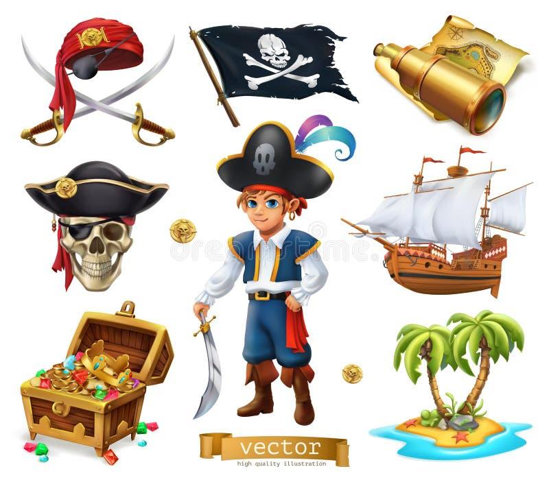 πειρατές που τίθενται Αγόρι, στήθος θησαυρών, χάρτης, σημαία, σκάφος και νησί τρισδιάστατο διάνυσμα ε&iot διανυσματική απεικόνιση
