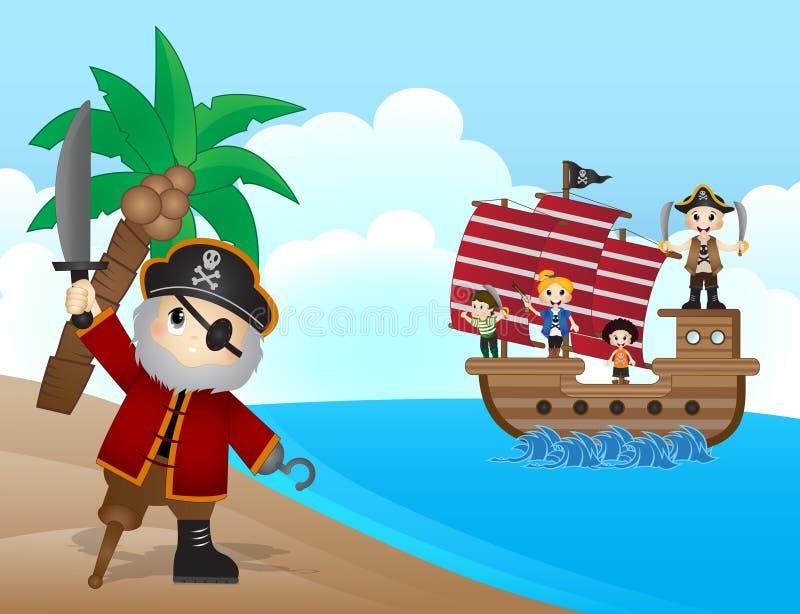 Πειρατές στην παραλία απεικόνιση αποθεμάτων