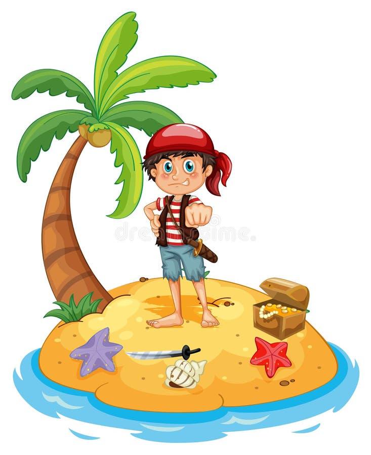 Πειρατής και νησί διανυσματική απεικόνιση