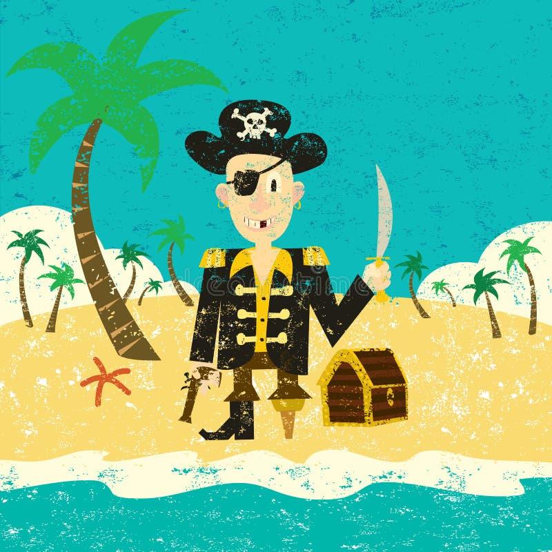 Πειρατής σε ένα νησί με το θησαυρό απεικόνιση αποθεμάτων