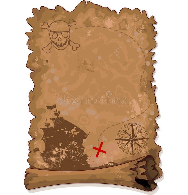 πειρατής χαρτών στον τρόπο θησαυρών απεικόνιση αποθεμάτων