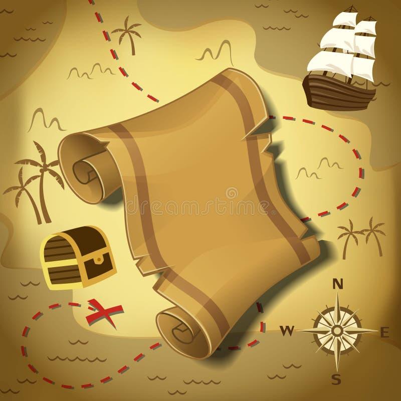 πειρατής χαρτών στον τρόπο θησαυρών ελεύθερη απεικόνιση δικαιώματος