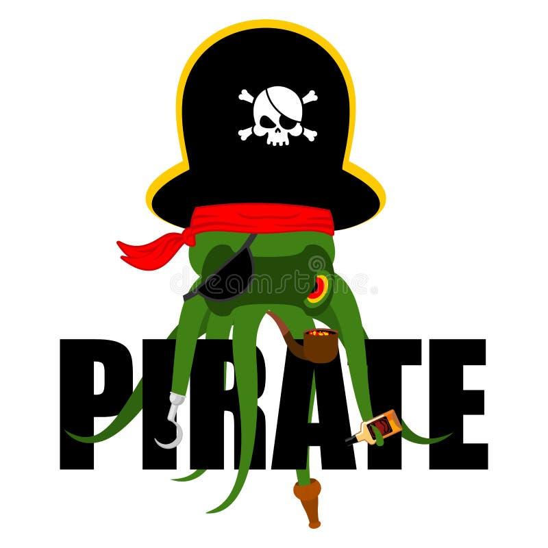 Πειρατής χταποδιών poulpe πειρατής Μπάλωμα ματιών και καπνίζοντας σωλήνας Pi ελεύθερη απεικόνιση δικαιώματος