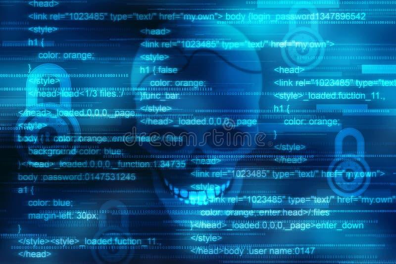 Πειρατεία Διαδικτύου και χάραξη, μορφή του κρανίου που συνδυάζεται με το δυαδικό κώδικα διανυσματική απεικόνιση