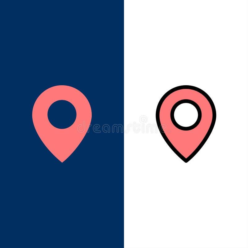 Πειραχτήρι, θέση, εικονίδια χαρτών Επίπεδος και γραμμή γέμισε το καθορισμένο διανυσματικό μπλε υπόβαθρο εικονιδίων απεικόνιση αποθεμάτων
