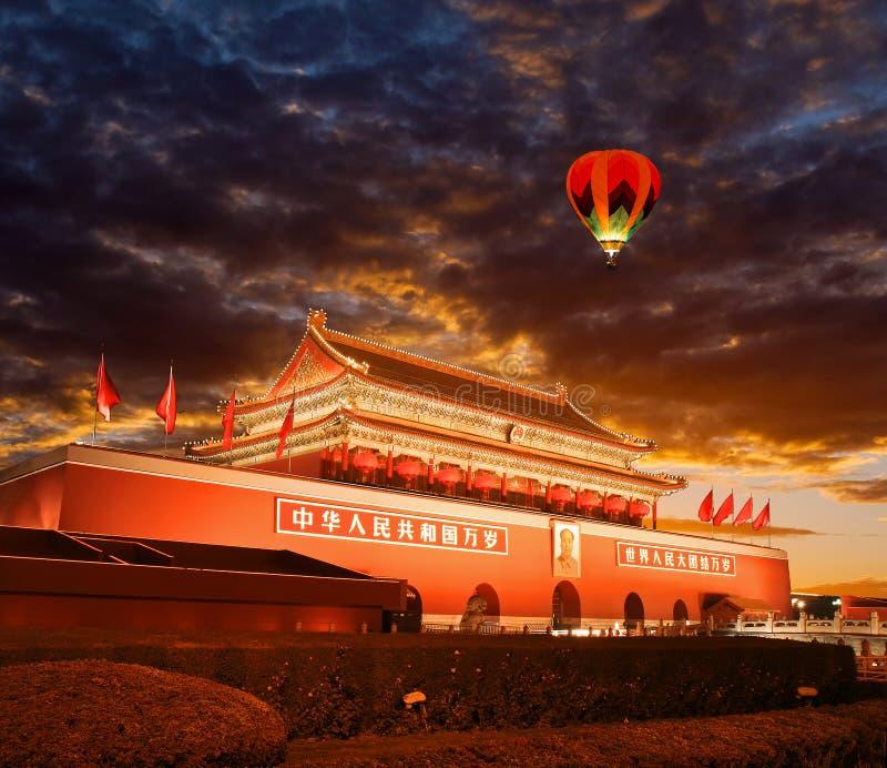 Πεκίνο Tiananmen στο ηλιοβασίλεμα στοκ φωτογραφία με δικαίωμα ελεύθερης χρήσης