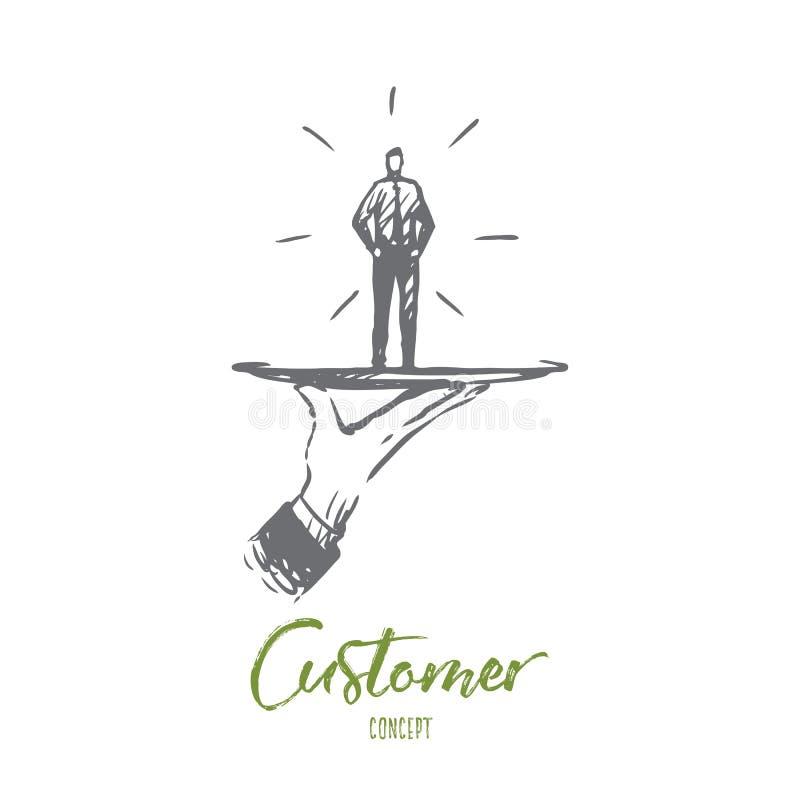 Πελάτης, επιχείρηση, υπηρεσία, βοήθεια, έννοια πελατών Συρμένο χέρι απομονωμένο διάνυσμα διανυσματική απεικόνιση