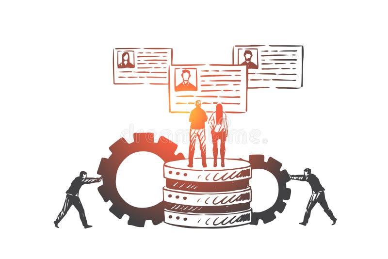 Πελάτης, σχέση, διαχείριση, σκίτσο έννοιας CRM Συρμένη χέρι απομονωμένη διανυσματική απεικόνιση απεικόνιση αποθεμάτων