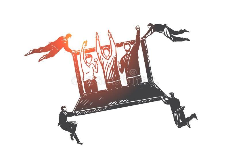 Πελάτης, σχέση, διαχείριση, σκίτσο έννοιας CRM Συρμένη χέρι απομονωμένη διανυσματική απεικόνιση ελεύθερη απεικόνιση δικαιώματος