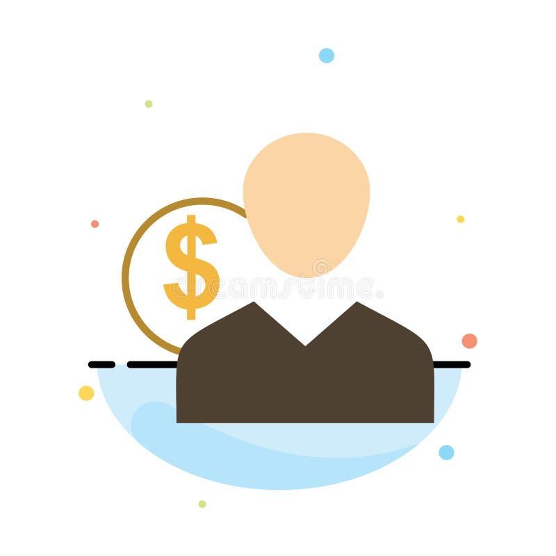 Πελάτης, χρήστης, δαπάνες, υπάλληλος, χρηματοδότηση, χρήματα, αφηρημένο επίπεδο πρότυπο εικονιδίων χρώματος προσώπων διανυσματική απεικόνιση