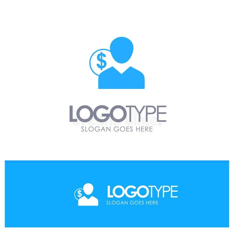 Πελάτης, χρήστης, δαπάνες, υπάλληλος, χρηματοδότηση, χρήματα, μπλε στερεό λογότυπο προσώπων με τη θέση για το tagline ελεύθερη απεικόνιση δικαιώματος