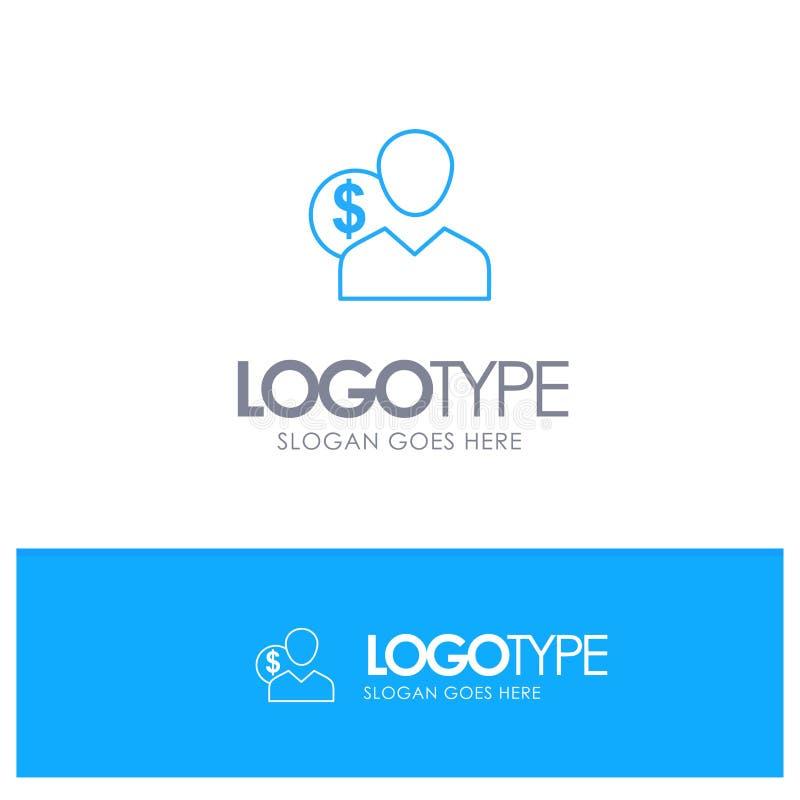 Πελάτης, χρήστης, δαπάνες, υπάλληλος, χρηματοδότηση, χρήματα, μπλε λογότυπο περιλήψεων προσώπων με τη θέση για το tagline απεικόνιση αποθεμάτων