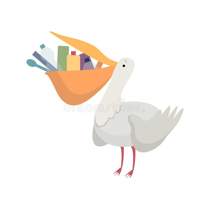 Πελεκάνος με τα πλαστικά απορρίμματα στο ράμφος του, σφαιρικό περιβαλλοντικό πρόβλημα, οικολογική διανυσματική απεικόνιση καταστρ ελεύθερη απεικόνιση δικαιώματος