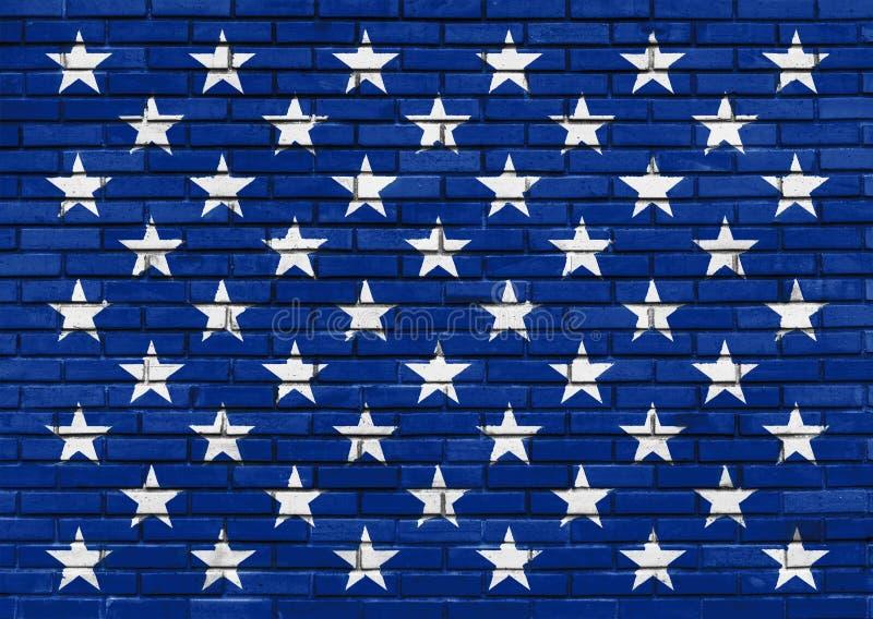 Πενήντα άσπρα αστέρια στο χρωματισμένο μπλε τουβλότοιχο, θέμα αμερικανικών σημαιών διανυσματική απεικόνιση