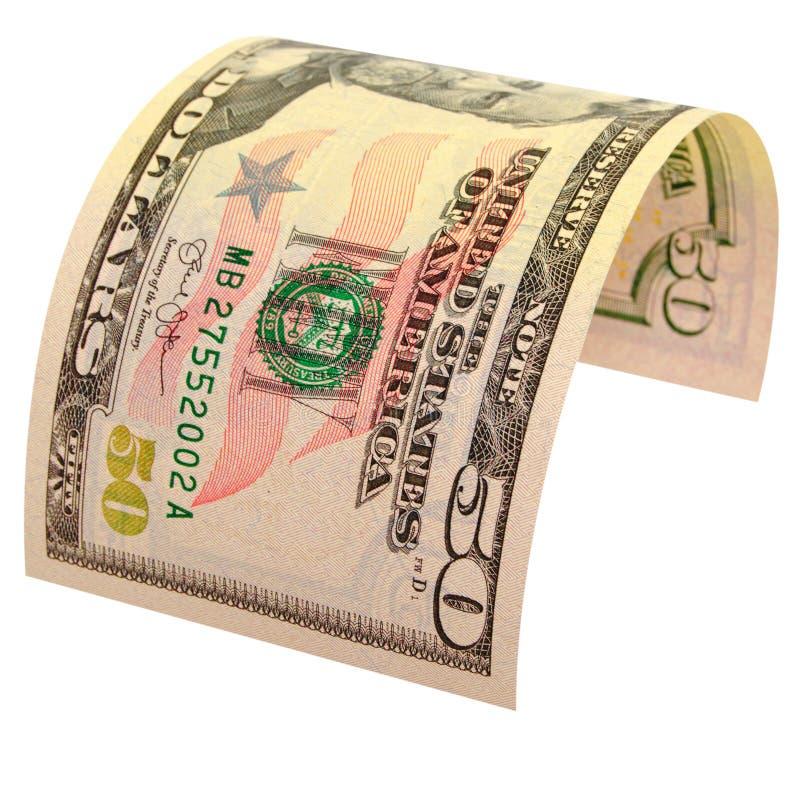 Πενήντα αμερικανικά δολάρια που απομονώνονται στοκ φωτογραφίες