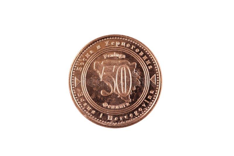 Πενήντα Fenings νόμισμα που απομονώνεται βοσνιακό στο λευκό στοκ εικόνες