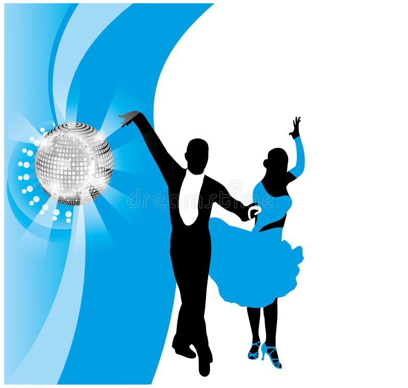 Περίγραμμα ενός όμορφου χορεύοντας ζεύγους διανυσματική απεικόνιση