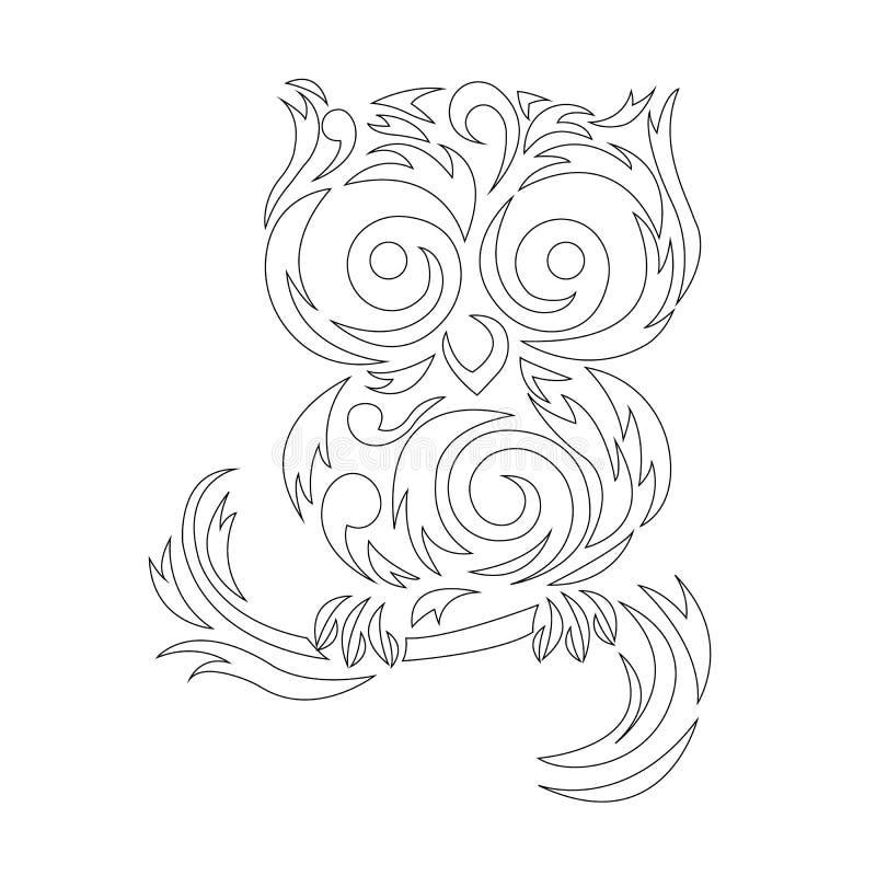 Περίγραμμα κουκουβάγιας, χρωματισμός με μαύρο περίγραμμα, χρωματισμός με περίγραμμα σε γραμμές ζιγκ-ζαγκ Λογότυπο πουλιού διανυσματική απεικόνιση