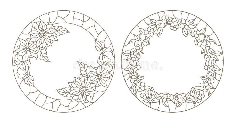 Περίγραμμα που τίθεται με τις απεικονίσεις του λεκιασμένου γυαλιού στο floral πλαίσιο απεικόνιση αποθεμάτων