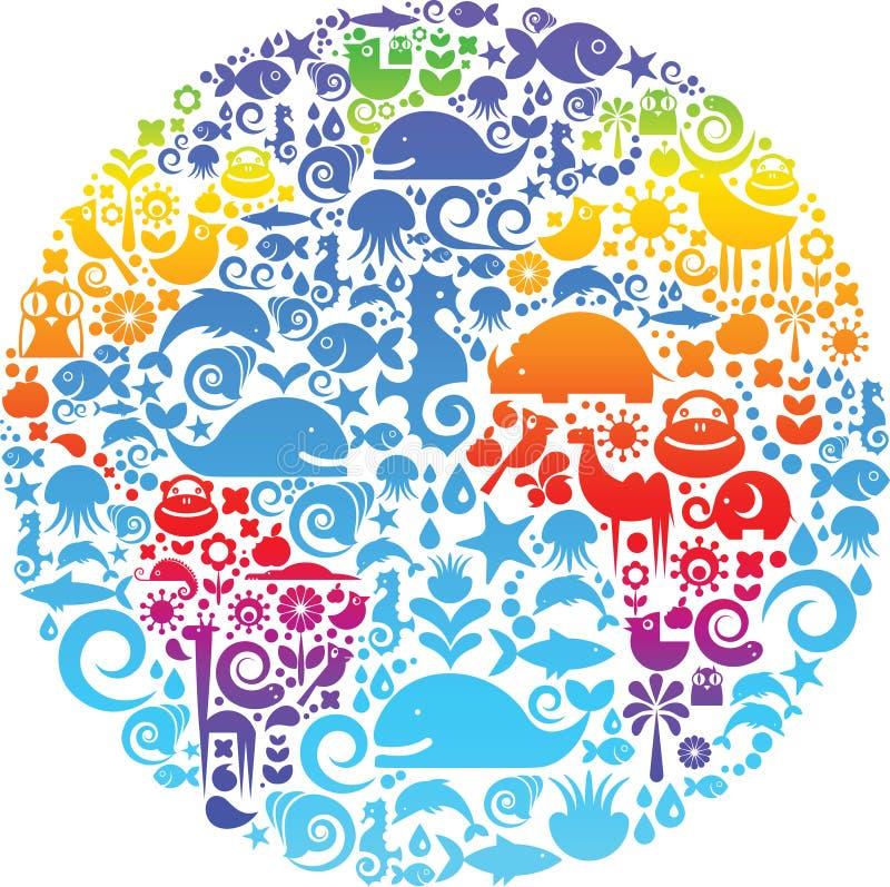 Περίγραμμα σφαιρών που γίνεται από τα πουλιά, τα ζώα και τα λουλούδια διανυσματική απεικόνιση