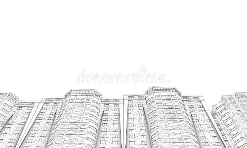 Περίγραμμα των σπιτιών Άποψη από κάτω από Polygonal σπίτια Wireframe που απομονώνονται στο άσπρο υπόβαθρο r διανυσματική απεικόνιση