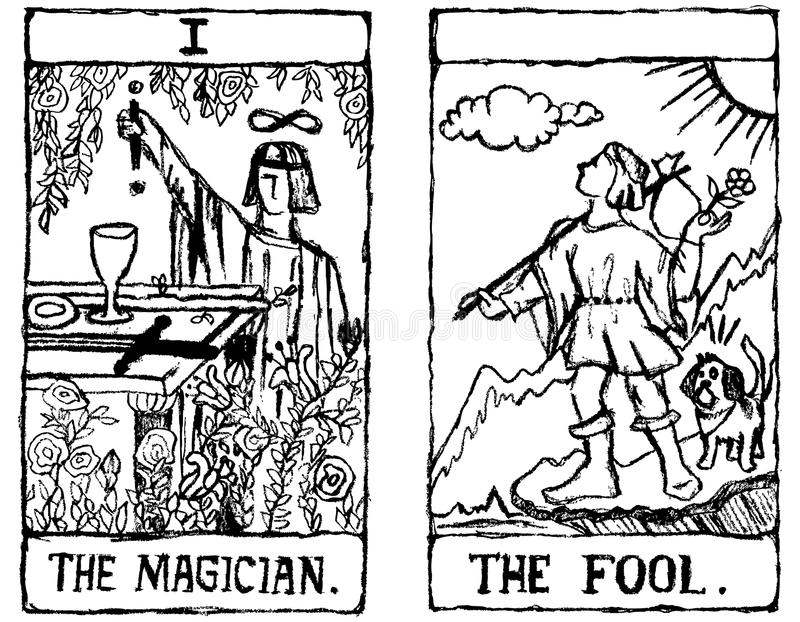 περίγραμμα tarot δύο καρτών ελεύθερη απεικόνιση δικαιώματος