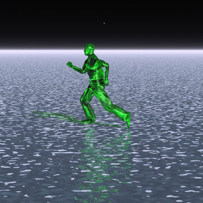 Περίεργα αλλοδαπό τρέξιμο στο νερό διανυσματική απεικόνιση