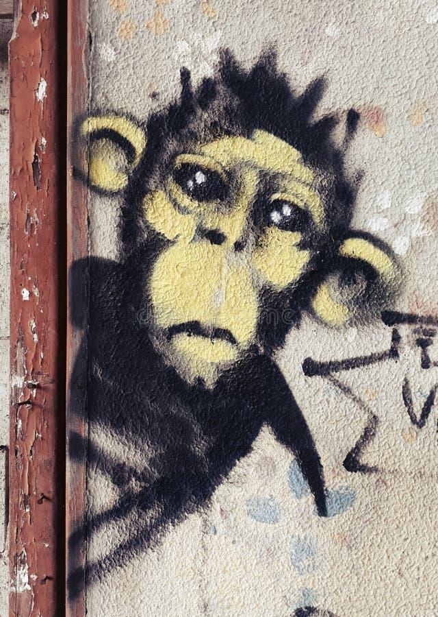 Περίεργα γκράφιτι πιθήκων στοκ φωτογραφίες