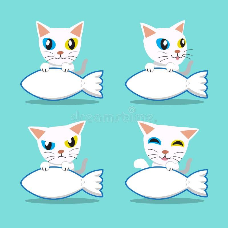 Περίεργος-eyed γάτα χαρακτήρα κινουμένων σχεδίων με το μεγάλο σημάδι ψαριών διανυσματική απεικόνιση